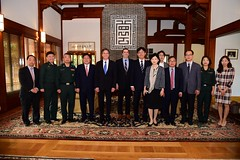 Deputy Secretary of State Antony 'Tony' Blinken and U.S. Ambassador to South Korea Mark Lippert pose for a photo with South Korean doctors and nurses from Ebola Response Teams (ERT) after their working breakfast at the Ambassador's residence in Seoul, South Korea, on October 7, 2015. [State Department photo/ Public Domain]