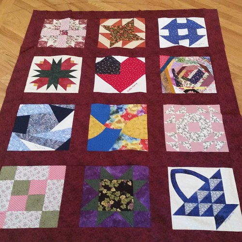Mom's friendship block quilt. Last finish of the weekend. Six quilt tops and a bag done this weekend.