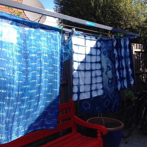 Shibori and indigo on silk scarves and linen tea towels