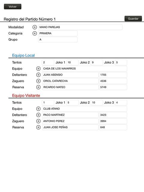 Formulario para rellenar los datos de un partido