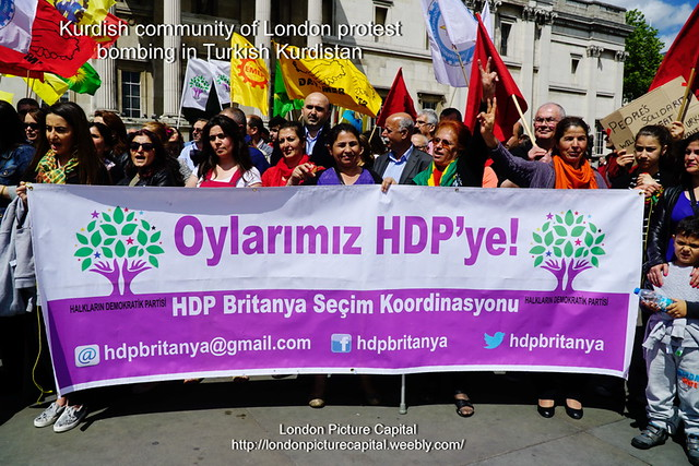 Kurdishs community protest of the bombing in Kurdish City of Amed, London