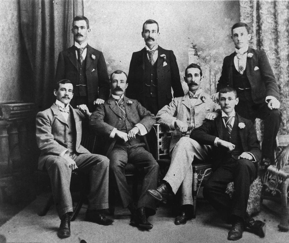 Group of men posing for a portrait c1890