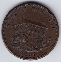1839 Bank of Montreal side view token obverse