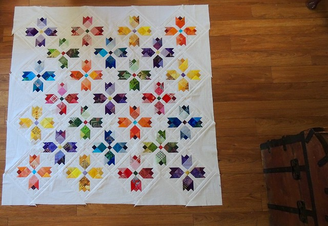 Very Scrappy Tulip Garden quilt top