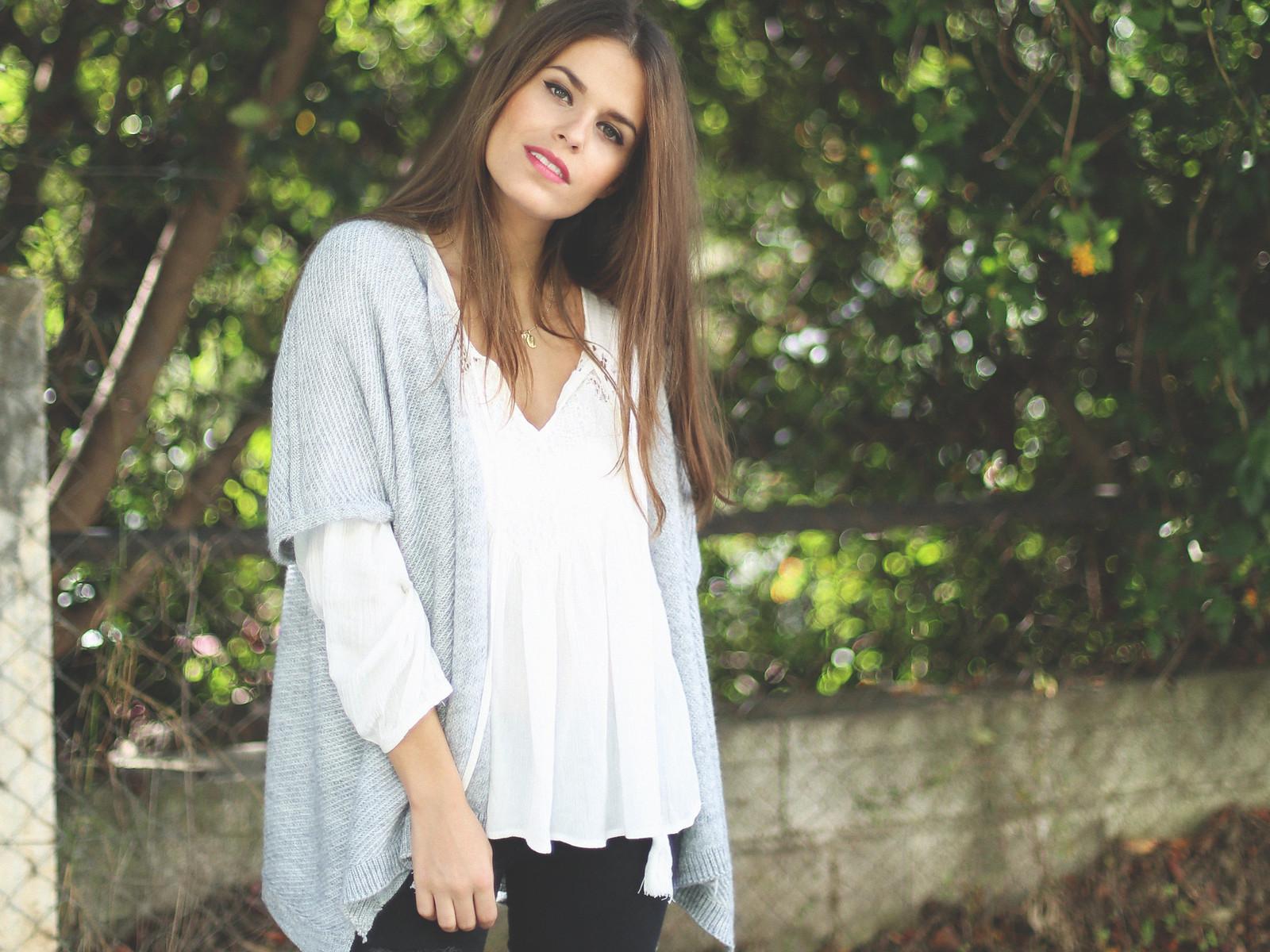 5. jessie chanes - grey poncho white boho blouse