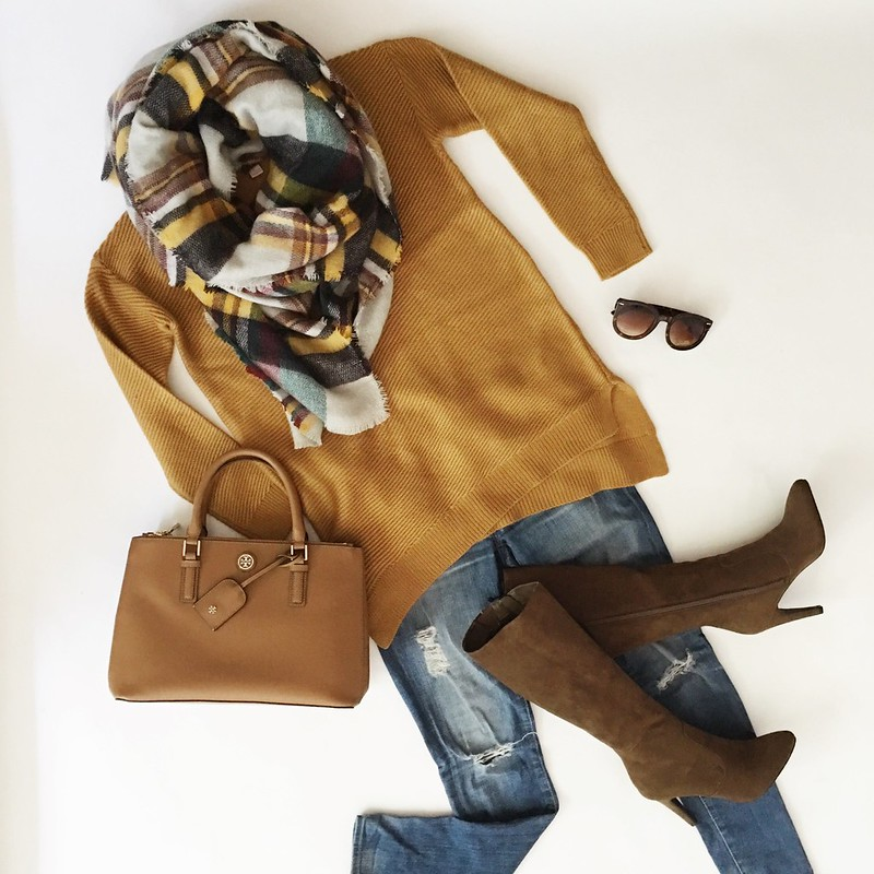 cute & little blog | petite fashion | mustard sweater, plaid blanket scarf, suede knee-high boots, tory burch mini robinson | fall outfit