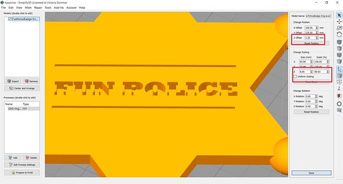 Simplify3D - Fun Police - Quick Hack with Offset and Scaling