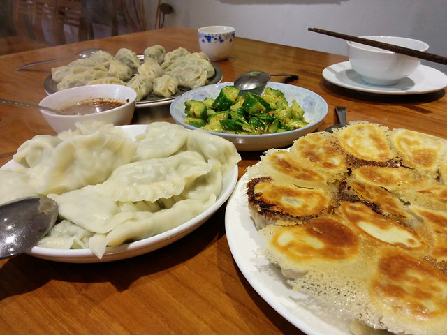 the final feast -- steamed, boiled and pan fried dumplings!