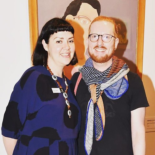 Fantastic (and very big!) exhibition launch on Saturday! Love that our graphic design whiz @wainger is styling hard in his @westknits #verticesunite shawl and naturally I'm rocking @marimekkoglobal ... Love your work Will! ❤️