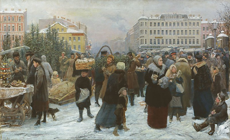 Christmas Market by Heinrich Maniser (Russian, 1847 - 1925)