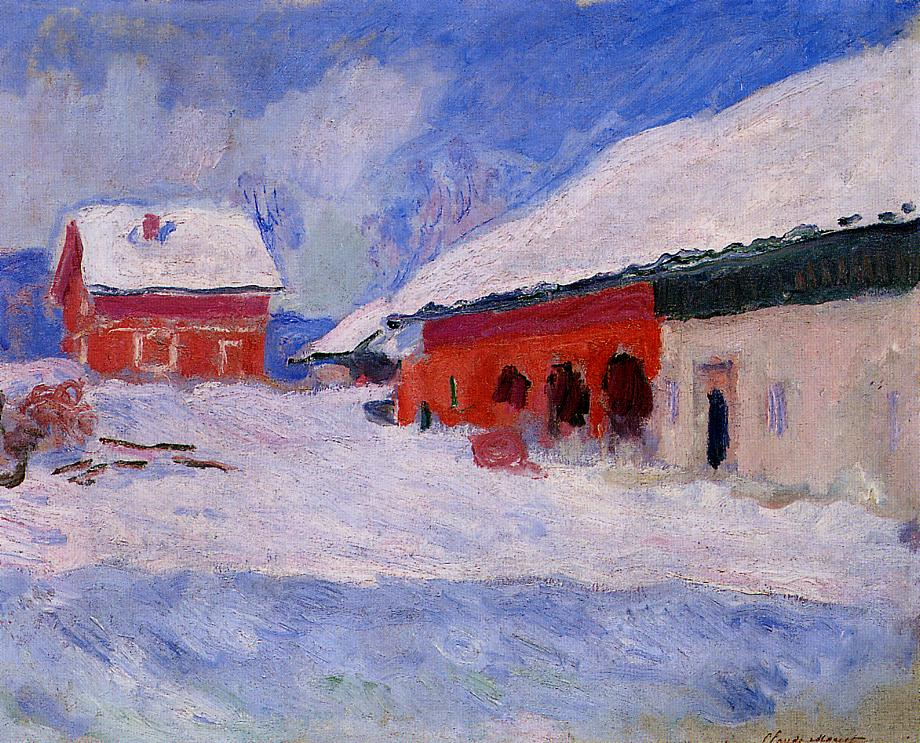 Red Houses at Bjornegaard in the Snow, Norway by Claude Oscar Monet - 1895