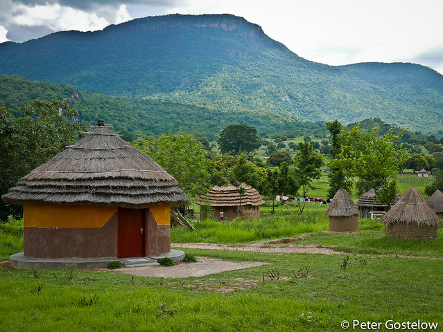 Grass huts in view of Mt Otzi