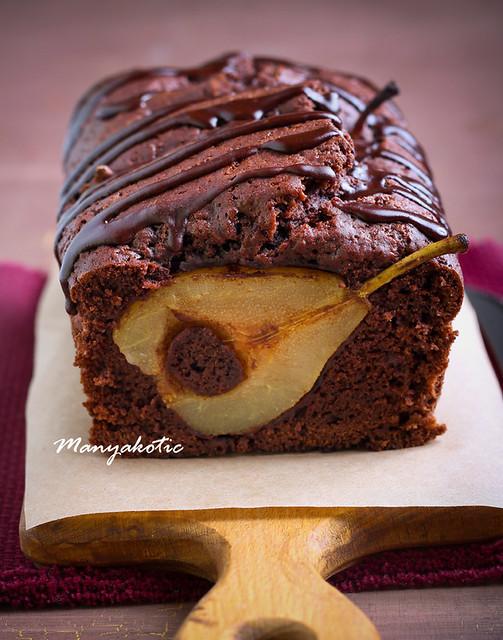 Chocolate pear loaf cake