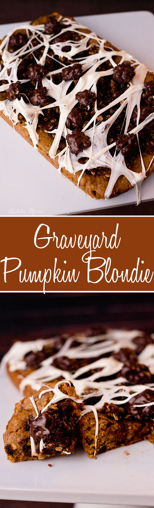 a pumpkin blondie with chocolate chips and toasted walnuts is delicious, add a gingersnap crumble, some chocolate covered walnut bugs and some marshmallow spider webs and you have a spooky treat