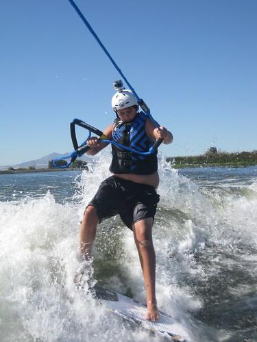 Tony wakesurfing