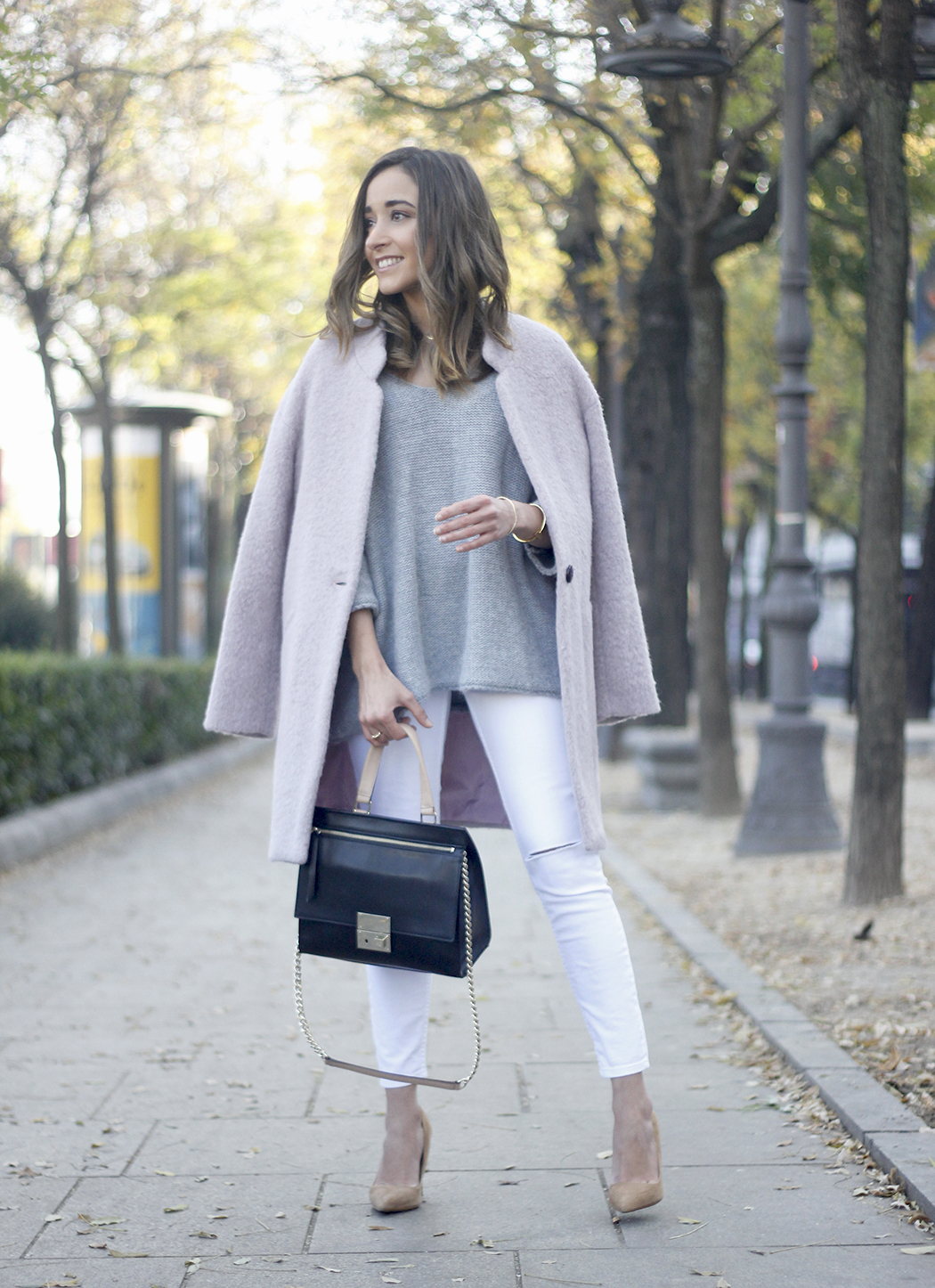 Tintoretto Pink Coat white jeans grey sweater outfit21