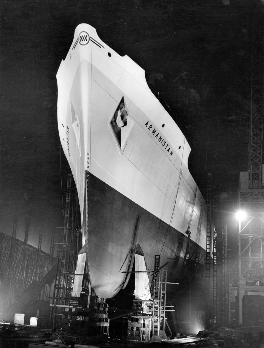 The cargo ship 'Armanistan' at night