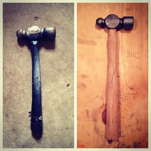 Restored ball pein hammer.