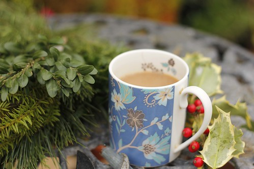 Essential cuppa whilst wreath making