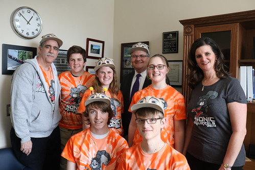 Rep. Harmsworth, R-Mill Creek, and the FIRST robotics Snohomish HS team