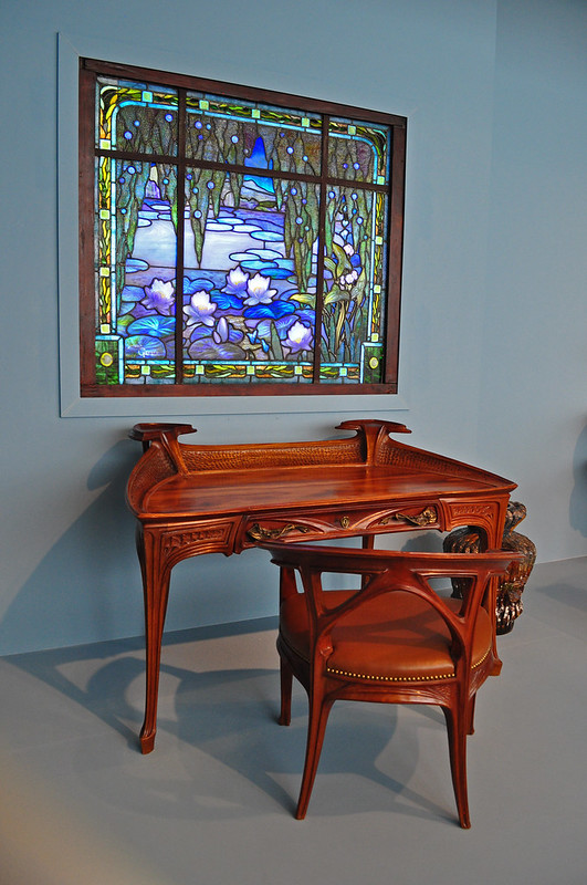 Desk and Chair, Lily Pond Window, Jacques Gruber