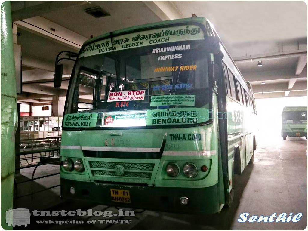 TN-01AN-0352 TNV A C040 of Tirunelveli Vannarpettai Depot Route H874 Tirunelveli - Bengaluru Nonstop Brindhavanam Express