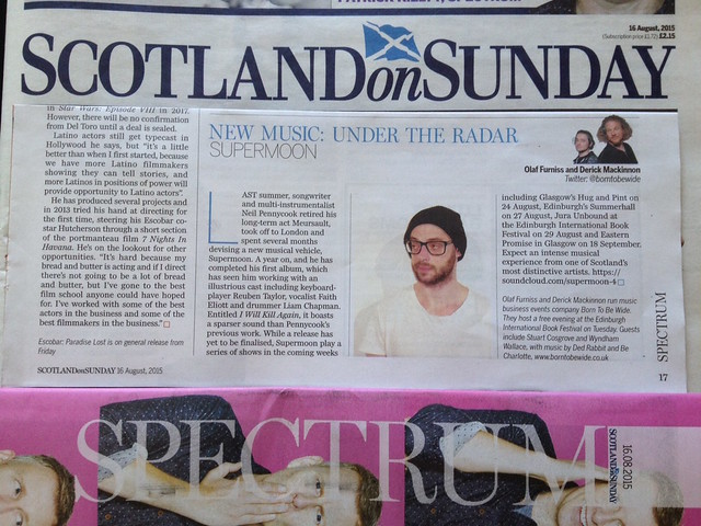 Olaf Furniss and Derick Mackinnon Scotland On Sunday, Spectrum Magazine, 16 August 2015, Supermoon [formerly Meursault]