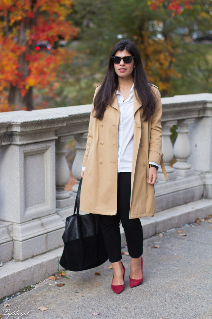white shirt, black pants, trench, red pumps.jpg
