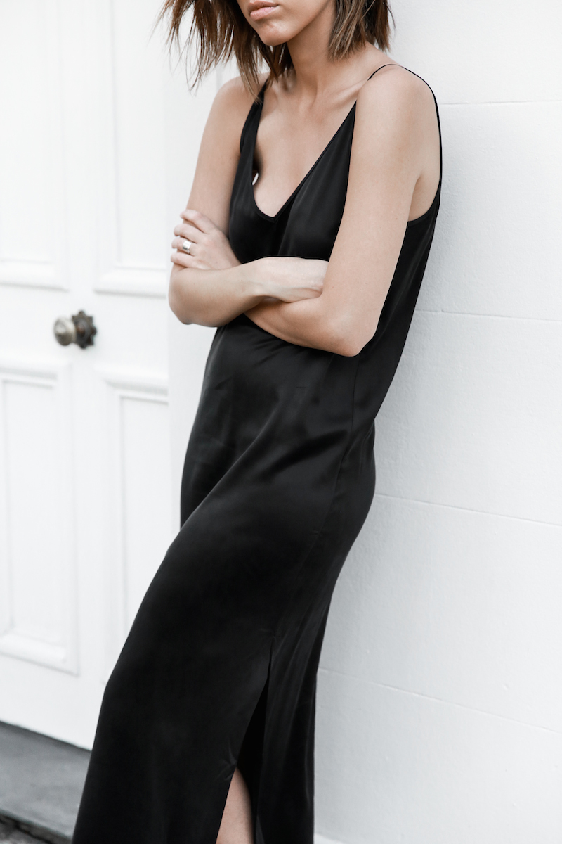 slip dress, street style, silk, black, minimal, 90s, summer, modern legacy, fashion blogger