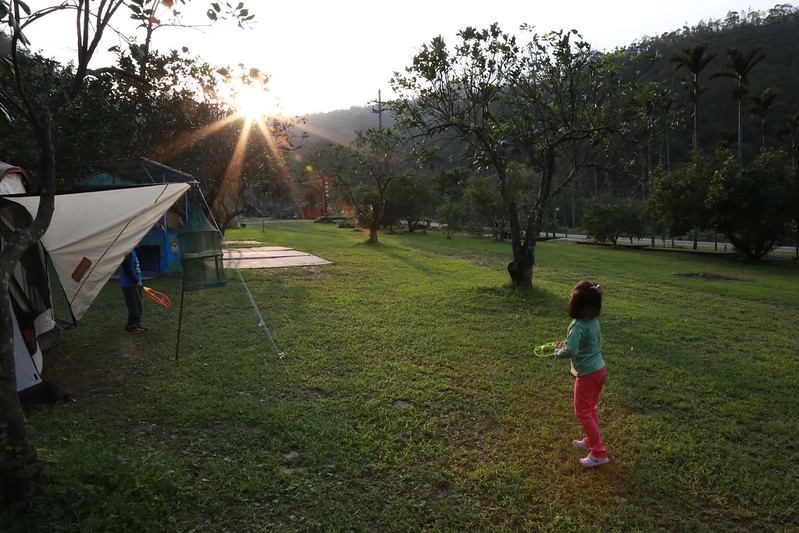 夕陽陪伴著玩球