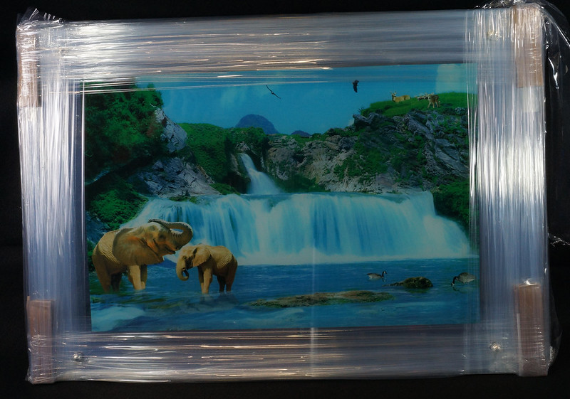 Sold Moving Waterfall Picture Sound Light Africa With Elephants