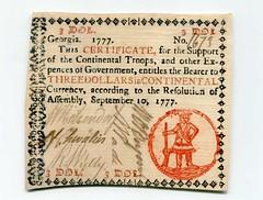 Georgia 1777 $3 note