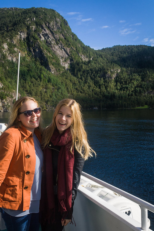 Me and Georgina on the fjords cruise, Bergen