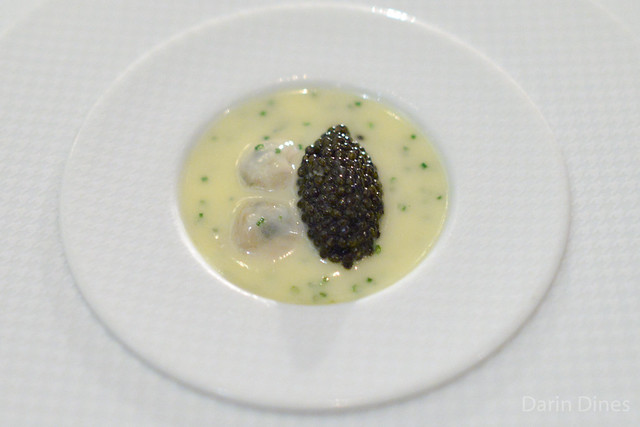 """OYSTERS AND PEARLS"" ""Sabayon"" of Pearl Tapioca with Island Creek Oysters and Sterling White Sturgeon Caviar"