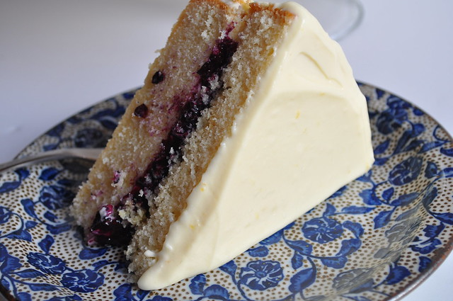 Vanilla Cake with Blueberry Compote Filling and Lemon Curd Frosting