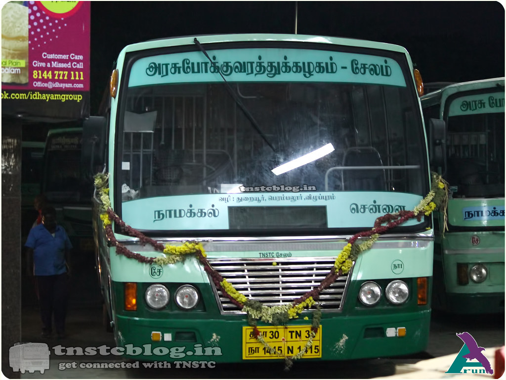 TN-30N-1415 of Namakkal 1 Depot Route  Namakkal Chennai via Thuraiyur, Perambalur, Villupuram.