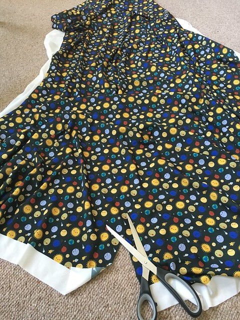 Solar System scarf making is happening! That's a lot of fabric.