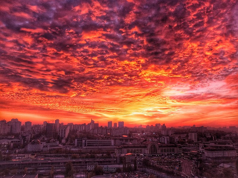 Fire in the sky. Sunset over Kiev downtown.