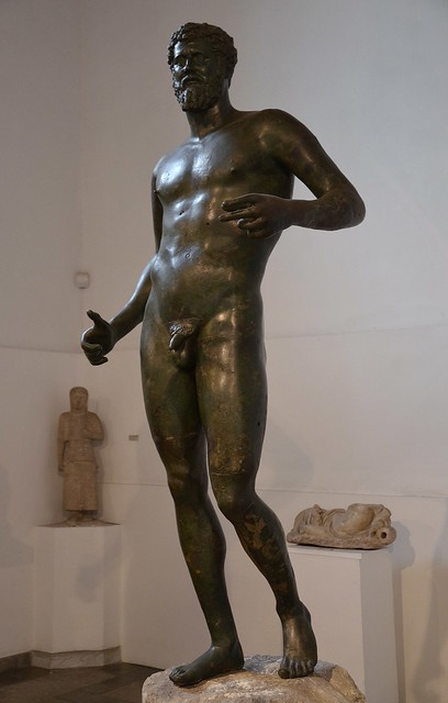 Larger than life-size bronze statue of Septimius Severus depicted in heroic nudity, discovered by chance in 1928 near the village of Kythrea in Cyprus, Cyprus Museum, Nicosia