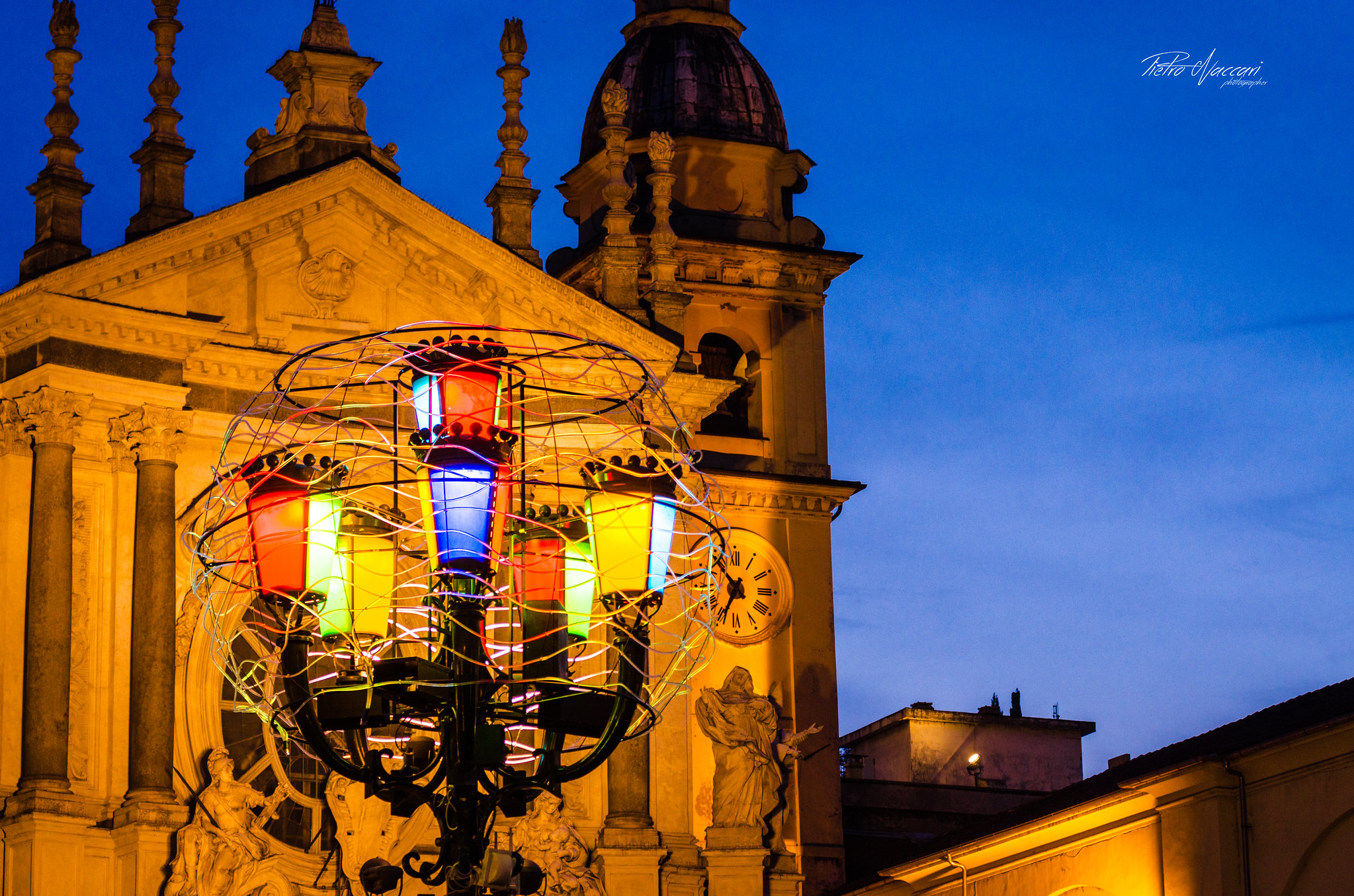 Artist lights in the St. Carlo Square