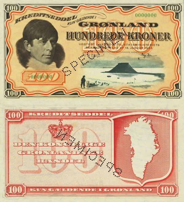 100 kronen Grónsko 1953 P21s SPECIMEN - REPLIKA