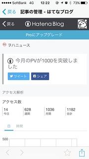 ヲハニュース1000PV/月 2015.10.25