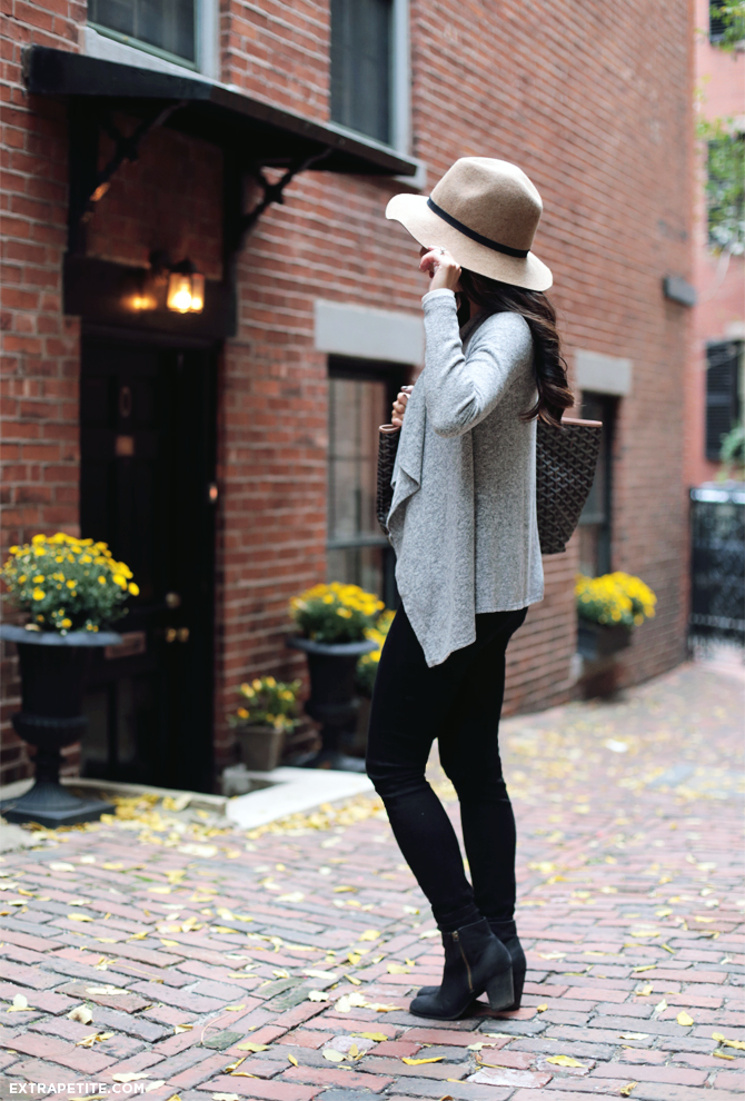 black jeans grey sweater fall outfit2