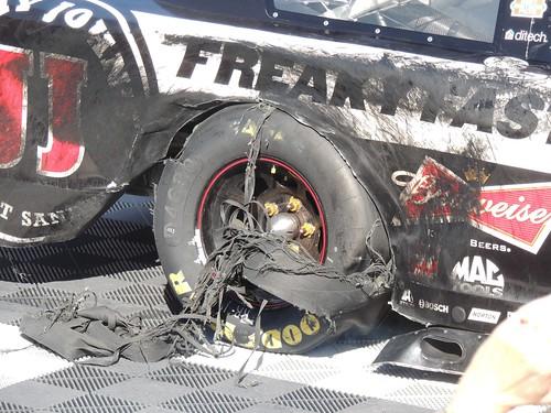 Kevin Harvick's shredded tire