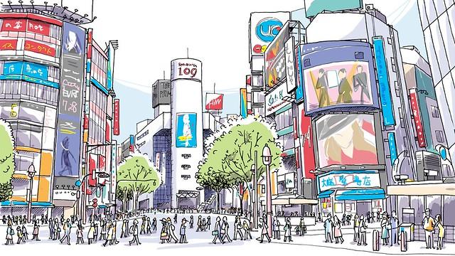 永谷園 遠藤関だっこちゃんプレゼントキャンペーンCM 背景イラスト(渋谷)