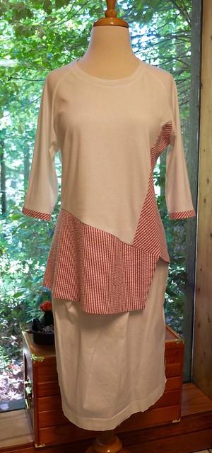 Knit + cotton/lycra seersucker Odette top