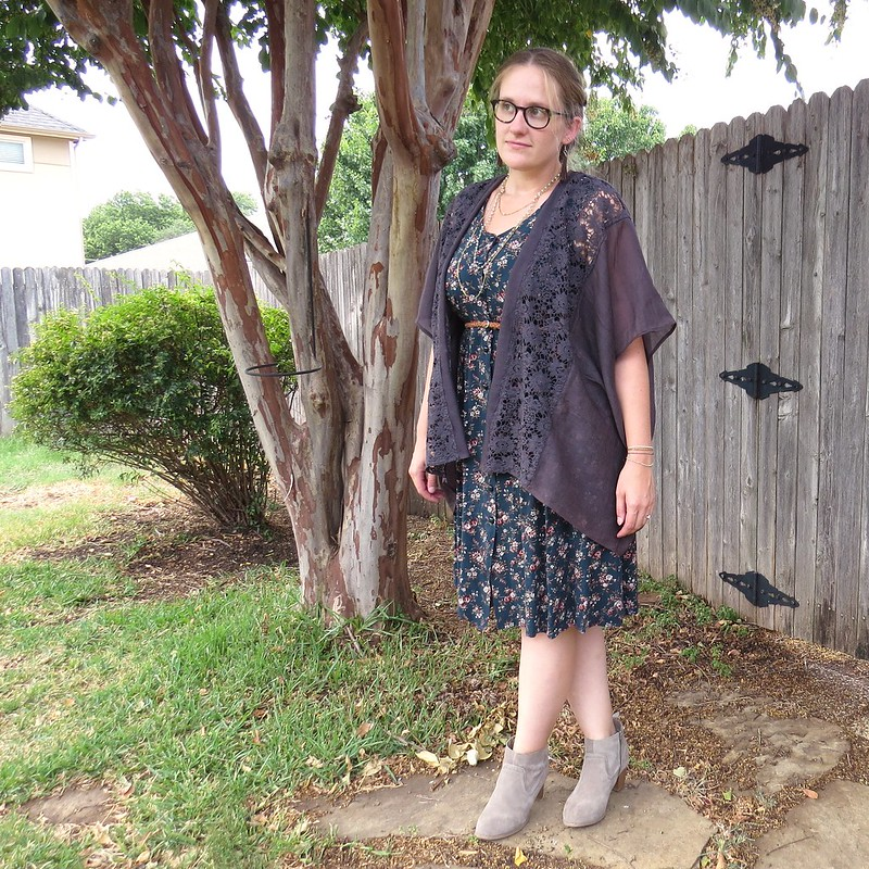 Teal Floral Dress and Lace Kimono - After