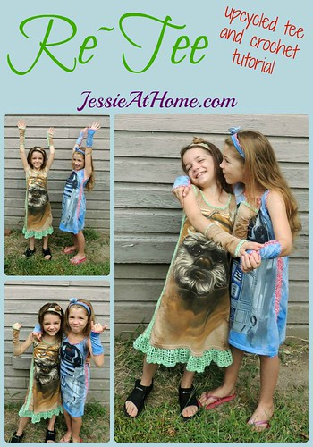 Re~Tee upcycled tee shirt with crochet tutorial from Jessie At Home