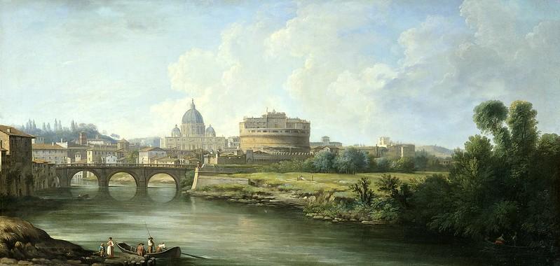 Pierre-Antoine Demachy - Gezicht op de Engelenburcht te Rome (c.1750)