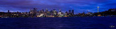 Panorama of Seattle Skyline at Night from Lake Union and Gasworks Park